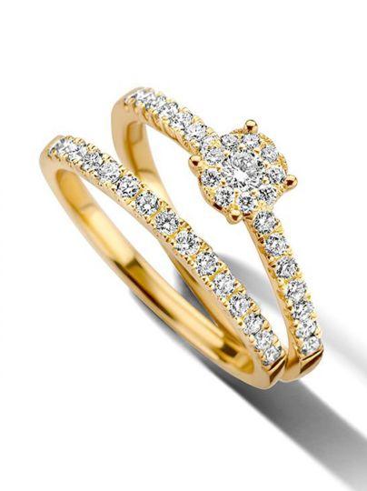 Geelgouden ringenset met diamant 0,56crt.