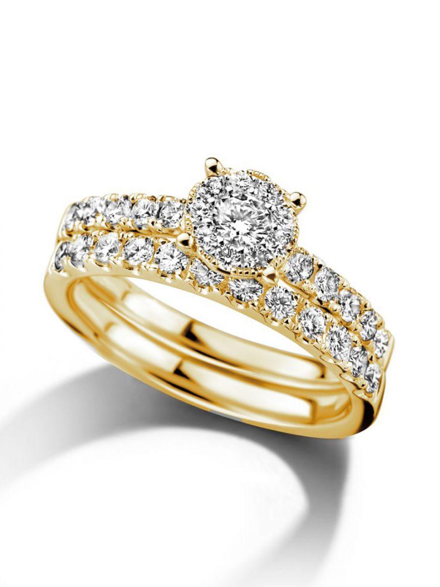geelgouden ringenset met diamant 084crt