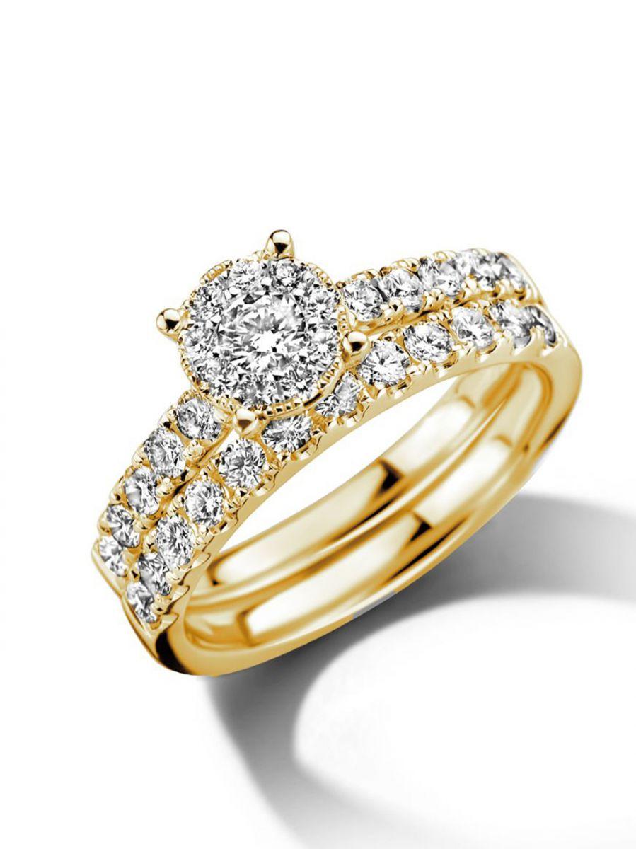 geelgouden ringenset met diamant 102crt