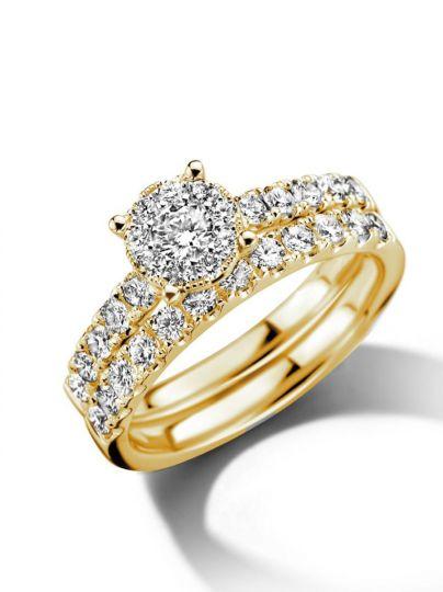 Geelgouden ringenset met diamant 1,02crt.
