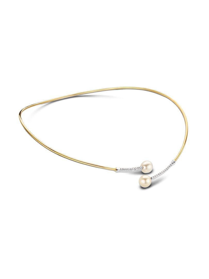 geelgouden spang met parels en diamant 038 crt