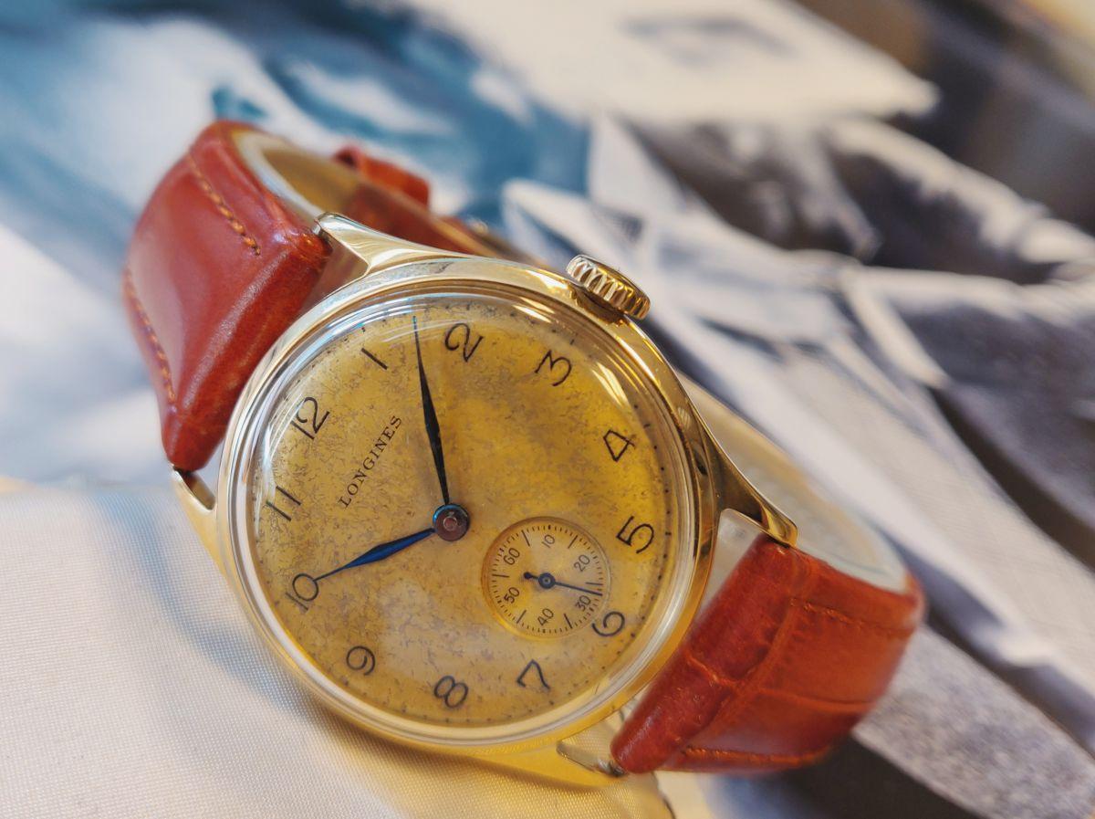 vintage longines geelgoud 14 karaatmechanisch horloge 2