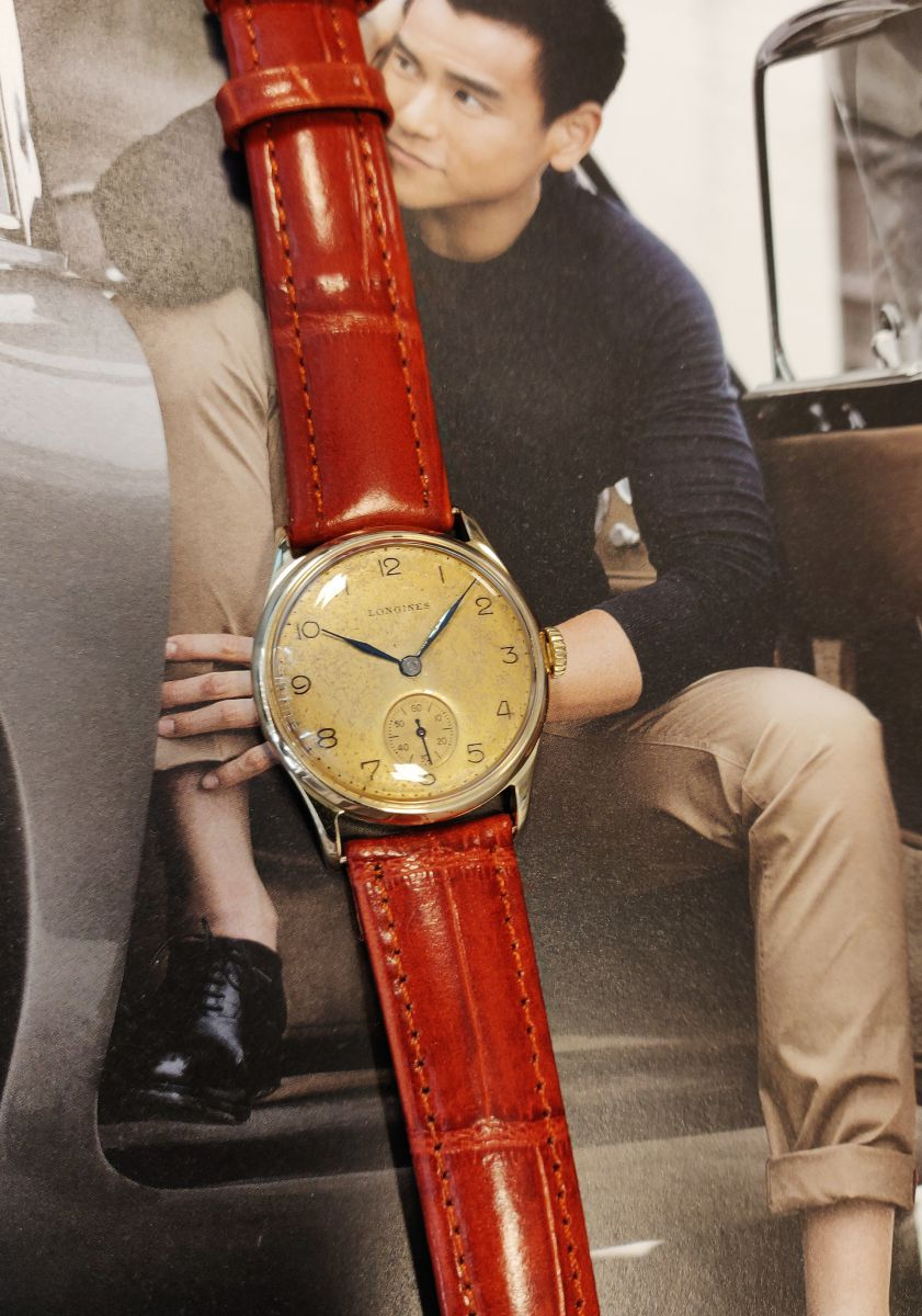 vintage longines geelgoud 14 karaatmechanisch horloge 4