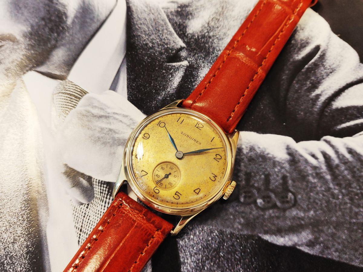 vintage longines geelgoud 14 karaatmechanisch horloge 7