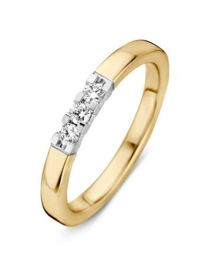 Gouden alliance ring 3 briljanten