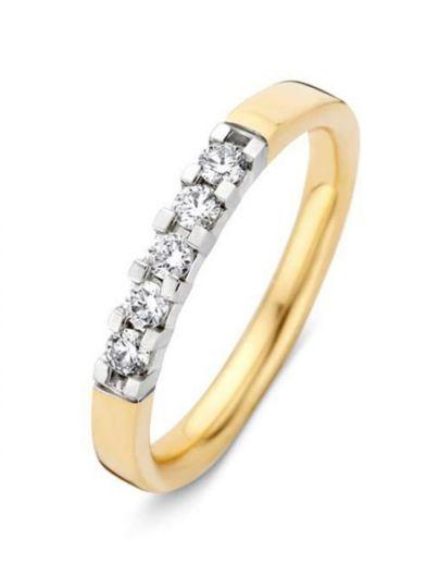 Gouden alliance ring met 5 briljanten