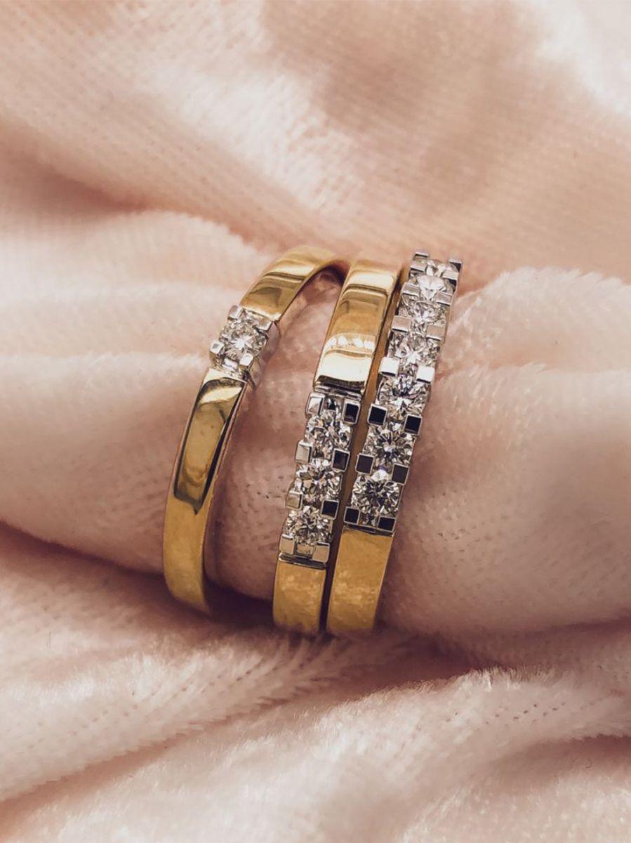 gouden alliance ring met 7 briljanten 2