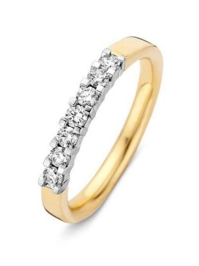 Gouden alliance ring met 7 briljanten