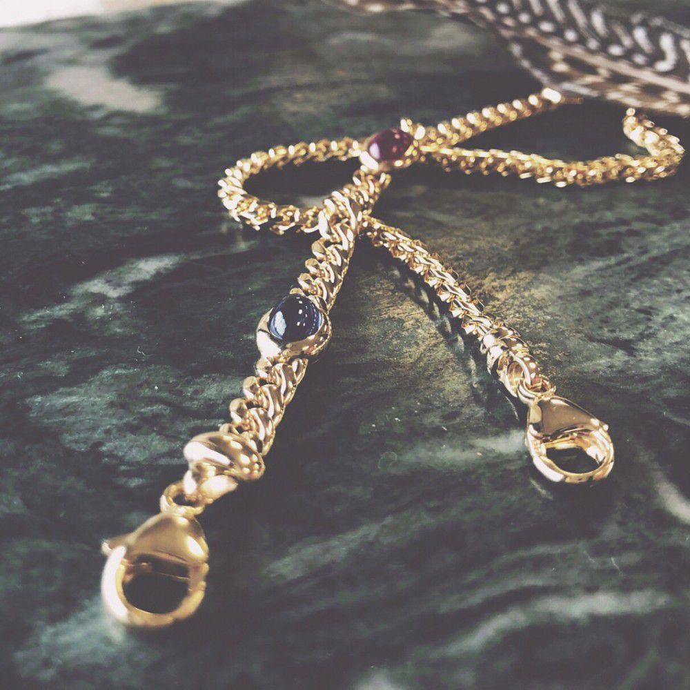 gouden armbandmetsaffier robijn en smaragd19 cm