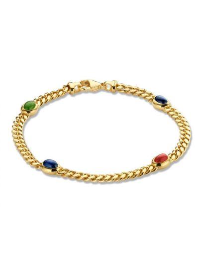 Gouden armbandsmal metsaffier, robijn en smaragd
