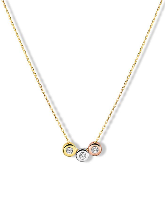 gouden collier met tricolor hanger witgoud geelgoud en rosegoud