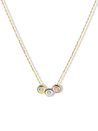 Gouden collier met hanger tricolor