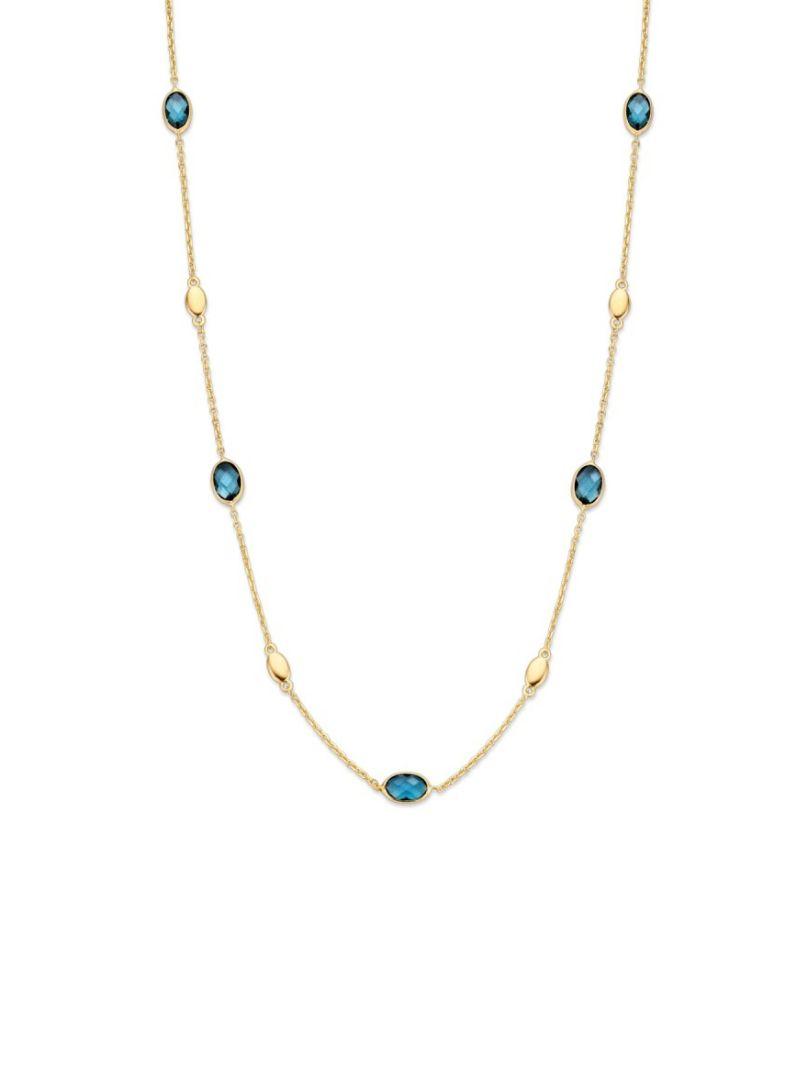 gouden collier met london blue topaas