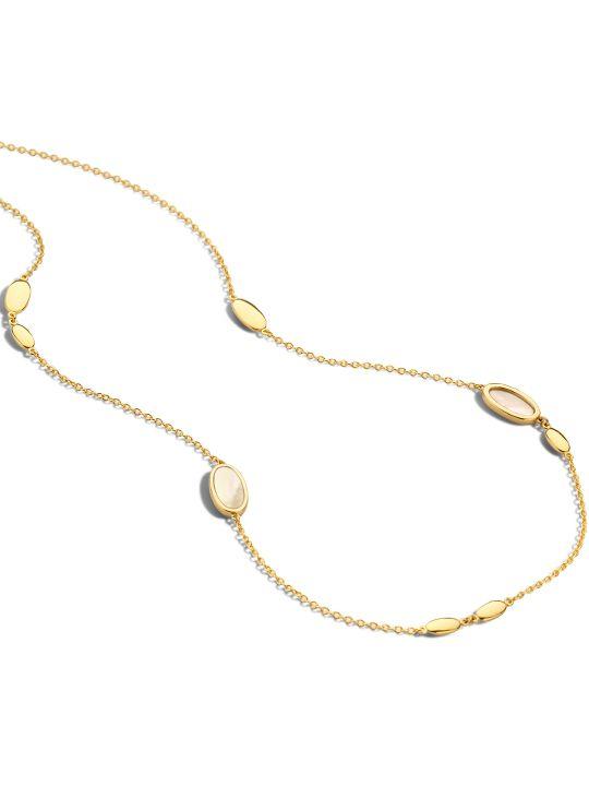 geelgouden collier met parelmoer 4245 cm