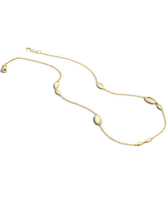 geelgouden collier met parelmoer 4245 cm 14 karaat