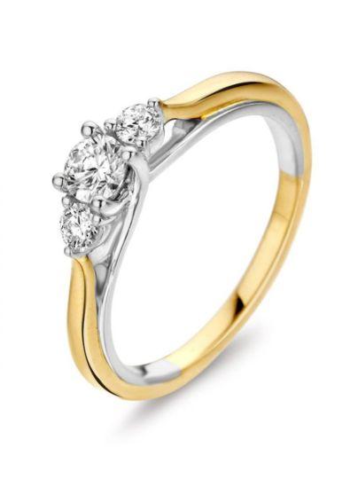 Gouden driesteens ring 0.50 crt.