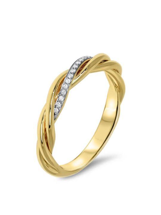 geelgouden ring met diamanten