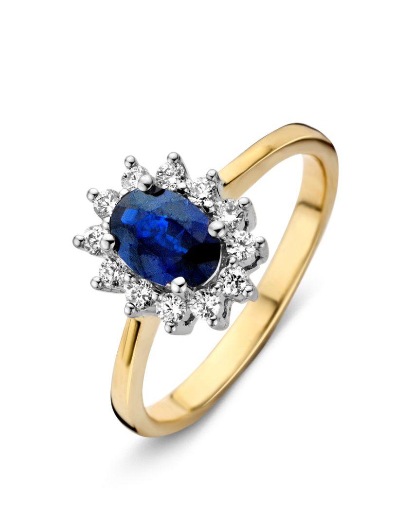 gouden ring saffier en briljant