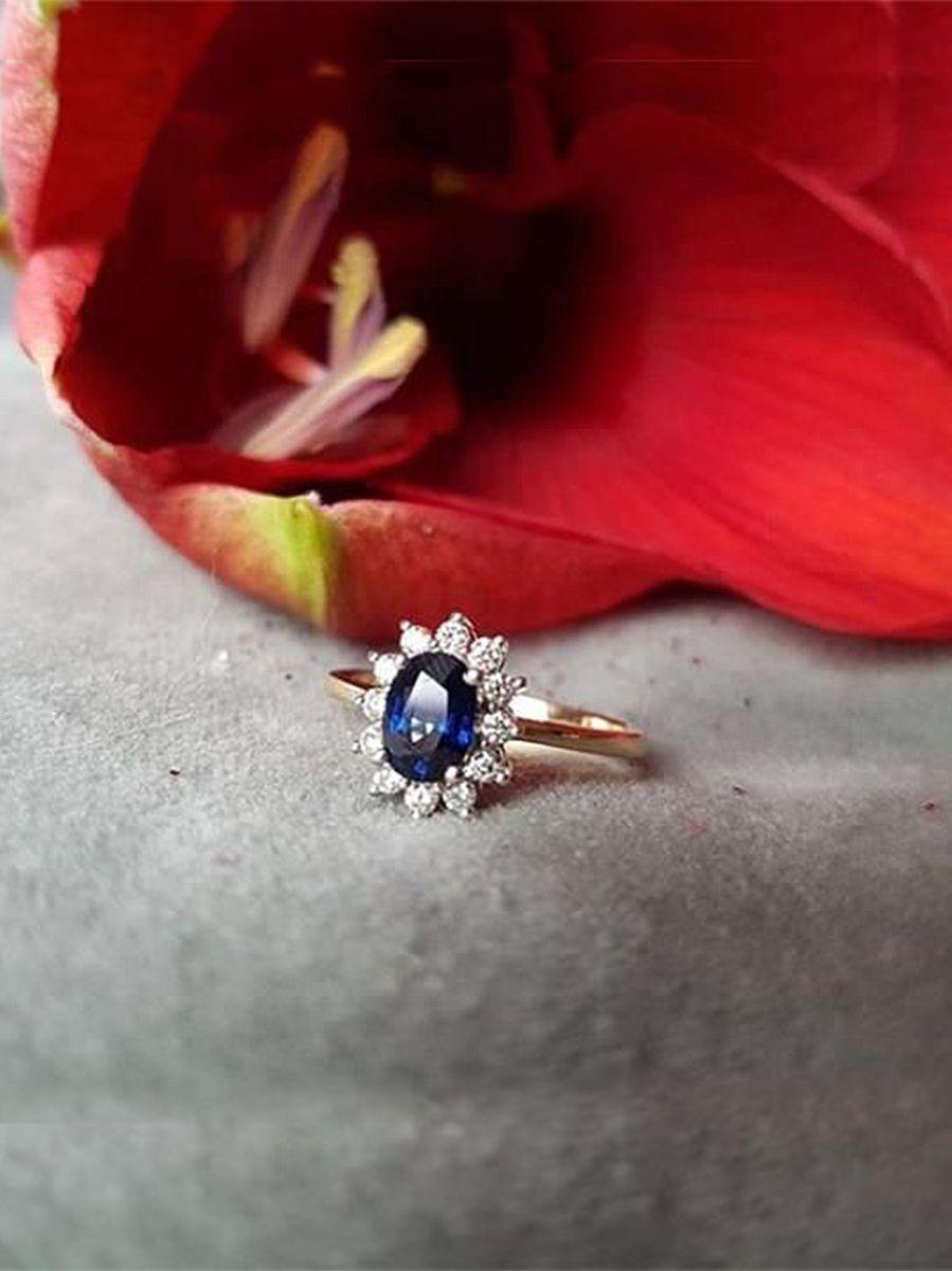 gouden ring saffier en diamant