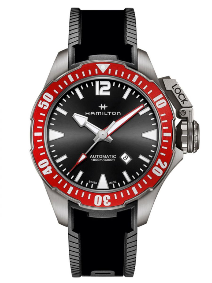 hamilton khaki navy frogman horloge h77805335