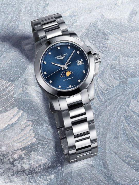 longines conquestmoonphase horloge l33814976 2