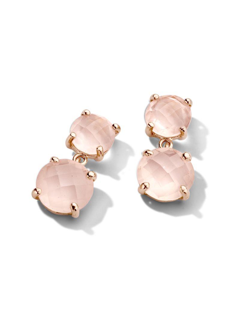 rosgouden oorbellen met roze kwarts