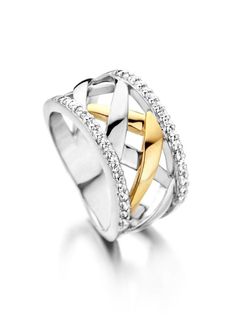 ring zilver goud zirkonia
