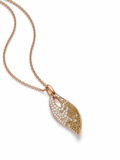 Roségouden hanger met diamant