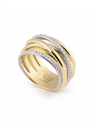 Serenata bicolor ring met briljant