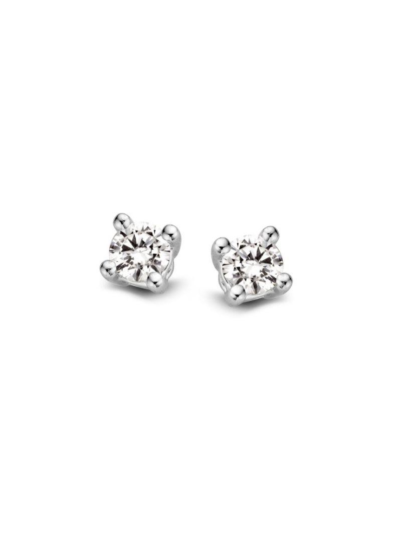 witgouden solitair oorknoppen met diamant