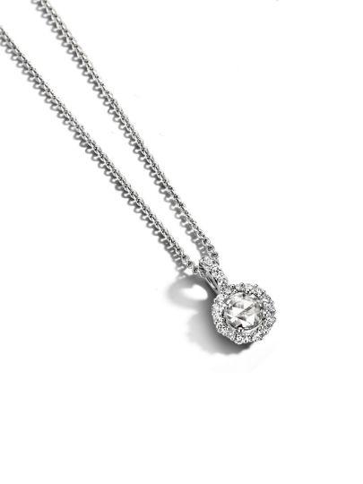 Taille Roos witgouden hanger met diamant