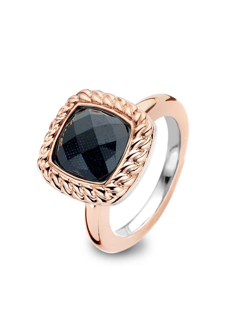 tm1091na2p tirisi moda ring ros met blauwe kristal