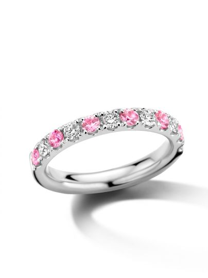 Witgouden alliance ring met roze saffier