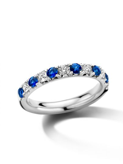 Witgouden alliance ring met saffier