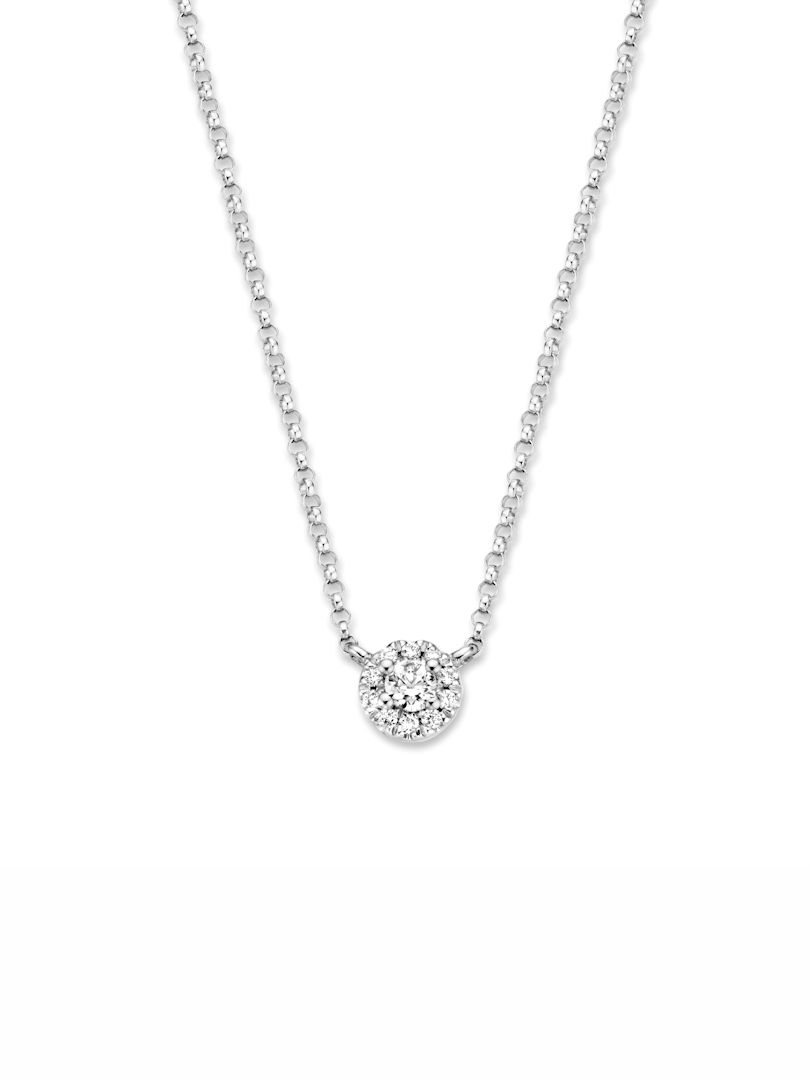 witgouden kettinkje met diamant