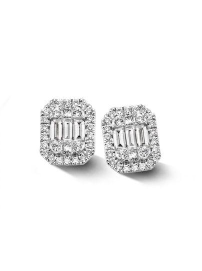 Witgouden oorsteker met diamant 0,80crt.