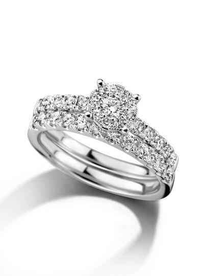 Witgouden ringenset met diamant 0,84crt.