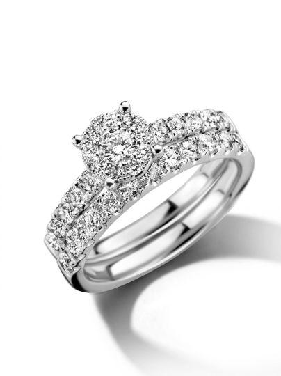 Witgouden ringenset met diamant 1,02crt.