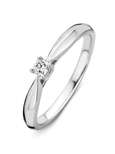 Witgouden solitair ring met briljant 0.09crt