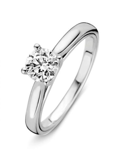Witgouden solitair ring met briljant 0,74crt
