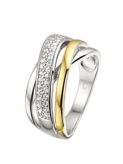 Zilver en goud ring zirkonia