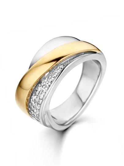 Zilver met goud ring